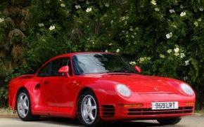 Picture red, supercar, porsche, coupe, 959