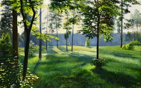 Picture road, forest, grass, the sun, light, trees, landscape, oil, day, painting, clearing, canvas, Lutsenko, summer …