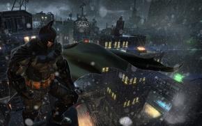 Picture snow, the city, Batman, art, Bruce Wayne, Warner Bros. Games Montreal, Batman: Arkham Origins