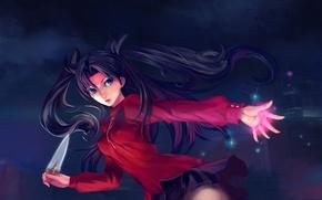 Picture girl, art, knife, rin tohsaka, fate/stay night, kiki.