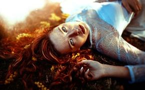 Picture girl, freckles, Ronny Garcia, Sun light