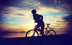 Picture bike, Sunset, mountain, exercise, ride