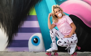 Picture cutie, videos, girl, background, graffiti, chewing gum, look, style