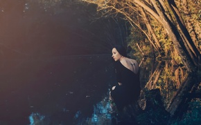 Picture girl, river, tattoo, nature, feeling the light