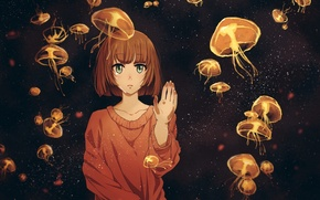 Picture girl, anime, tears, art, jellyfish, twinmix