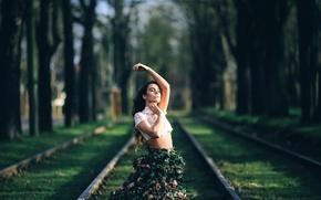 Picture girl, skirt, roses, David Olkarny