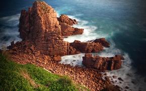 Picture sea, grass, landscape, stones, rocks, shore