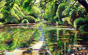 Picture cat, trees, nature, lake, reflection, stones, art, Hikaru no tube