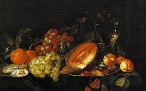 Wallpaper berries, picture, Still life, fruit, Cornelis de hem, fruit
