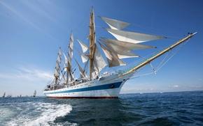 Picture sea, frigate, ship, sails, sailboat, the ship