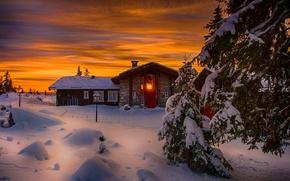 Picture winter, the sky, snow, landscape, nature, house, house, white, sky, landscape, nature, sunset, beautiful, winter, …