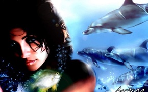 Picture water, mermaid, dolphins