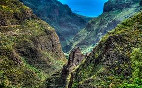 Wallpaper sea, Islands, mountains, stones, rocks, HDR, gorge, Spain, Canary Islands, The Canary Islands, Tenisa