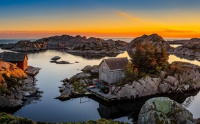 Wallpaper houses, Bjerkreim, Rogaland, shore, sea, Norway, the sky, horizon, stones, sunset