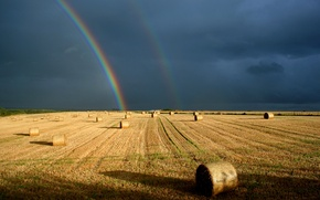 Picture field, the sky, rainbow, contrast, rolls