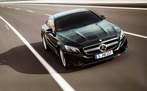Picture auto, Mercedes-Benz, Road, Green, Mercedes, Logo, The hood, Coupe, The front, In motion, S-Class