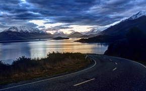 Picture road, sea, the sky, water, clouds, trees, mountains, nature, reflection, river, background, tree, widescreen, Wallpaper, …