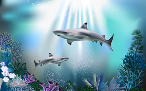 Wallpaper sea, bubbles, blue, corals, sharks, underwater world, under water, rays of light, 3D
