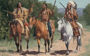 Wallpaper picture, painting, painting, Call To The Little Bighorn, Mann