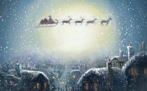 Wallpaper Christmas eve, Santa Claus, sleigh, houses, holiday, snow, gifts, picture, Christmas, team, the city, Windows, ...