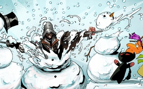 Picture Christmas, gifts, snowman, steam, assassin, sale, discounts, Thursday