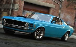 Picture machine, graphics, Mustang, Ford, art, Blue, 1970, dangeruss, Grabber