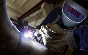 Picture energy, electricity, welder, welding, worker, electric arc