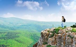 Picture mountains, rocks, Girl, tourist