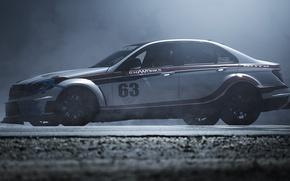 Picture Mercedes-Benz, Road, Fog, Mercedes, Asphalt, Car, AMG, C63, Benz