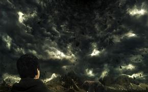 Wallpaper storm, zipper, elephant, mountains, Clouds