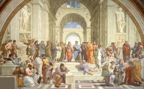 Wallpaper picture, art, Rafael, Zenon Of Kition, Hypatia, The school of Athens, Heraclitus, Socrates, Pythagoras, Aristotle, ...