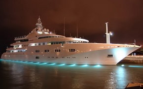 Picture overcast, the evening, yacht, large