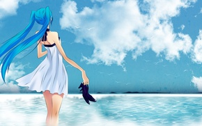 Picture Sea, Anime, Seagulls, Hatsune Miku, Hatsune Miku