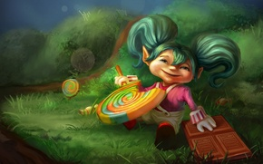Picture glade, chocolate, art, girl, Lollipop, sweet tooth, caramel