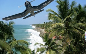 Picture palm trees, shore, figure, island, fighter, art, the plane, American, deck, WW2, single, Chance Vought …