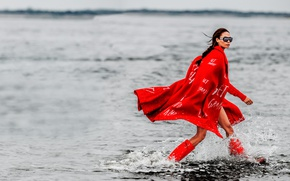 Wallpaper Joan Smalls, photoshoot, glasses, Gilles Bensimon, in red, water, brunette, hairstyle, model, boots, coat, Vogue, ...
