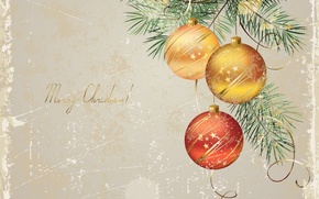 Wallpaper holiday, balls, toys, new year, spruce, vector, tree, the scenery, happy new year, christmas decoration, ...