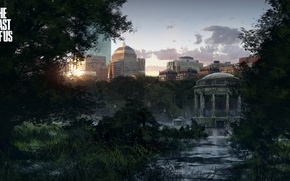 Picture the city, the building, swamp, art, postapokalipsis, the last of us