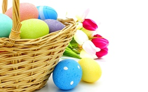 Picture basket, eggs, Easter, tulips, flowers, spring, eggs, easter