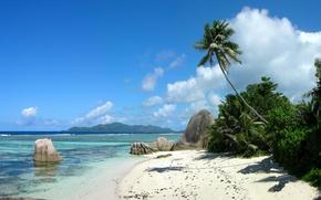 Picture sand, sea, the sky, clouds, mountains, tropics, Palma, stones, island