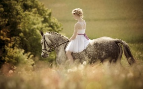 Picture girl, horse, blonde