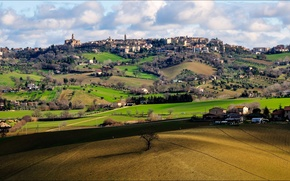 Picture the sky, grass, clouds, trees, the city, hills, field, home, Italy, Pollenca, Macerata