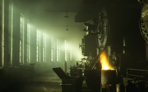 Picture light, Windows, depot, locomotives