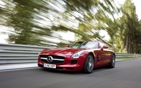 Picture road, trees, speed, Mercedes, Benz, AMG, SLS