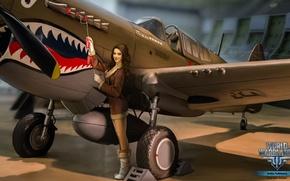 Wallpaper girl, the plane, teeth, brunette, girl, aviation, air, MMO, Wargaming.net, World of Warplanes, WoWp, BigWorld, ...