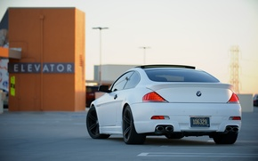 Picture roof, white, bmw, BMW, lift, Parking, white, back, e63