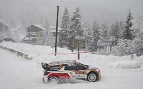 Picture Snow, Citroen, Citroen, DS3, WRC, Snow, Rally, Rally, Monte Carlo, Monte Carlo, Ostberg