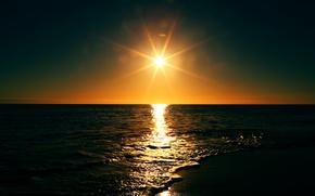 Picture landscape, sea, nature, beach, sun, Sunset
