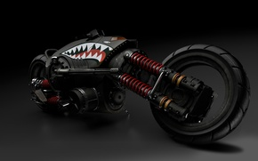 Picture fiction, motorcycle, machine gun, bike, rendering