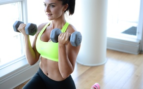 Picture female, fitness, gym, dumbbells
